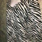 Zebra animal print KAREN SCOTT knit stretch 3/4 sleeve top v-neck XL black gray