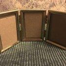 Tri-fold vntg emboss gold brass metal triple hinged 2x3 frame photo fine detai