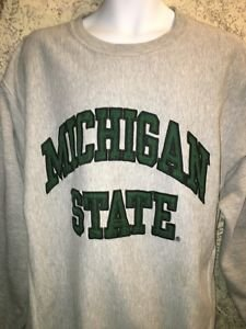 MICHIGAN STATE gray green men's XL Steve & Barry's pullover sweatshirt crewneck