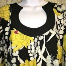 VIOLET & CLAIRE knit stretch 3/4 bell ruffle sleeve top black yellow floral M