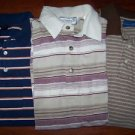 3 men's polo shirts size small short sleeved striped button front collar GUC top