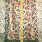 SOLITAIRE retro 70s floral linen skirt hippie boho modest length S below knee