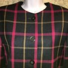 Worsted wool lined skirt suit blazer jacket USA navy pink plaid modest 10 career