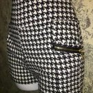 Retro 70s houndstooth knit stretch black white pull on shorts hot junior's L-XL