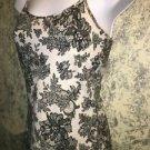Artsy black floral lace spaghetti strap cami knit stretch tank top S shelf bra