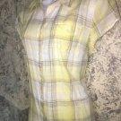 LIZ CLAIBORNE Petite lightweight gauze cotton button down plaid shirt PL yellow