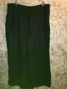 Woman's plus 20W flowing wide leg slit opening lined black dress pants elegant