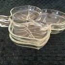 2 clear leaf shaped candy nut relish dishes heavy glass 3 compartment vintage