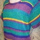 Vintage retro bright teal purple striped short sleeve knit top women M Hong Kong