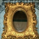 "Gold frame 7x9"" Home Interiors oval mirror shabby chic scrolled vintage regency"