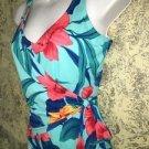 ISLANDER tropical flower 1 pc wrap waist tie swimming bathing swim suit 6 blue