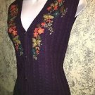 ALFRED DUNNER purple colorful flower floral embroidered knit vest L cableknit