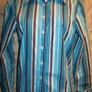 TOMMY HILFIGER turquoise blue vertical stripe button down shirt blouse career M