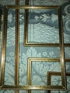 2 matching gold brass metal emboss photo picture frames 8x10 Mid Century Modern