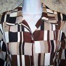"Retro vintage ? BON WORTH women S 44"" bust button blouse shirt collared browns"