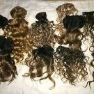 Lot human hair curly wavy pieces strips extensions weaves doll making crafts