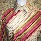 CLAIBORNE PREMIUM Modern Fit retro diagonal striped dress shirt button down M