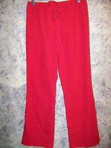 Red Valentines scrubs pants dental medical nurse vet drawstring elastic waist S