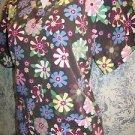 Brown flowers pullover v-neck scrub top nurse dental medical vet uniform women S