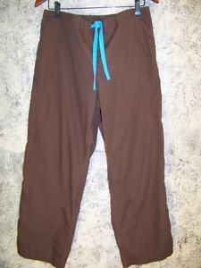 Brown blue stripe scrubs pants nurse dental medical elastic drawstring waist M