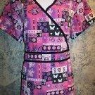 Pink ribbon butterfly wrap look scrub top nurse dental medical women L back tie