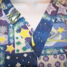 Stars planets celestial print pullover v-neck scrubs top nurse medical women L