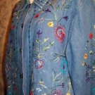 Floral embroidered jean jacket button down shirt TANTRUM women's S spring flower