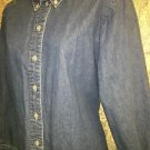 ALIA Petites 10P denim blue jean button down collar shirt blouse long sleeve