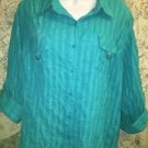 SAG HARBOR Jean Co Woman 1X turquoise button down shirt roll up sleeve tabs blue
