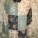 LIZ CLAIBORNE LIZSPORT semi sheer floral patchwork button down shirt blouse M