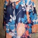 Semi sheer floral peasant dressy blouse 3/4 sleeve keyhole tie scoop neckline S