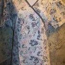 Gray pink floral artsy wrap look scrub top nurse dental medical women S back tie