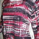 Artsy red black modest scoop neck 3/4 sleeve knit stretch BONWORTH Petite MP