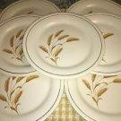 "7 KNOWLES dinner plates 10"" Golden Wheat ridged rim gold line vintage tableware"
