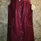 Basic two pocket house day dress smock XXL made U.S. modest snap front red sheen