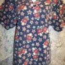 Women's medium scrubs nurse uniform top v-neck pull-over front pockets CHRISTmas
