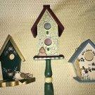 "Lot 3 decorative handpainted wood bird houses 4.5-14"" kitchen porch garden decor"