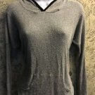 CHARLOTTE RUSSE lightweight ribbed gray stretch knit hooded top front pocket S