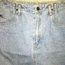 LIZ CLAIBORNE LizWear faded denim blue jean straight 5 pocket skirt above knee 8