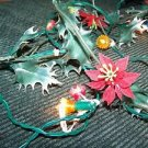 Vintage poinsettia holly garland CHRISTmas lights mini decorative plastic cover