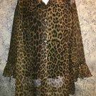 Sheer cheetah print 2 button duster ruffled sleeves tunic blouse top MAXI sz XL