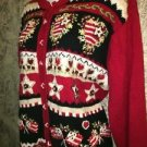 Red flags hearts school teacher's embroidery needlepoint cardigan sweater XL