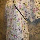 SB scrubs mock wrap back tie floral print top jacket medical uniform women L