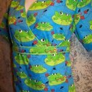 NEW frogs lily pads back tie mock wrap pullover vneck scrub top nurse medical XS