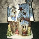 Candle tea light holder snow winter church building CHRISTmas decoration village