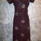 "Black red gold handmade kurti kutra tunic evening dress artsy unique 36"" bust"