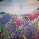 Insect bugs leaves colorful CREST snap front scrubs jacket medical uniform vet M