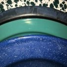 Lot 4 vintage enamelware metal plates bowl rustic farmhouse dishes blue green