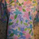 Lavender floral 3 pocket v-neck SB Scrubs uniform top dental medical vet nurse S