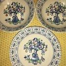 3 vntg Johnson Bros ironstone Sugar & Spice pear tree bird coupe bowls England